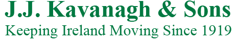 Image of two lines of text JJKavanagh and Sons followed by keeping ireland moving since 1919